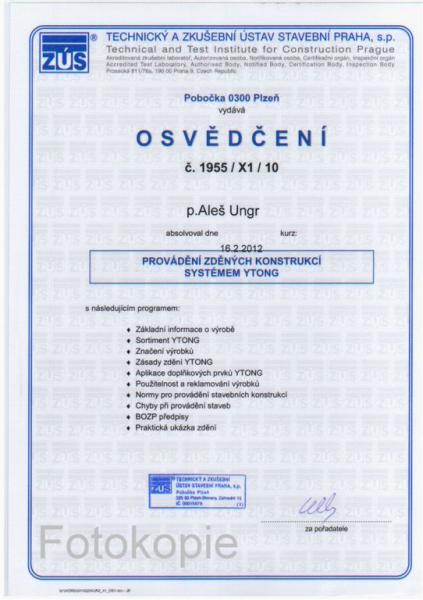 Certifikát Ytong